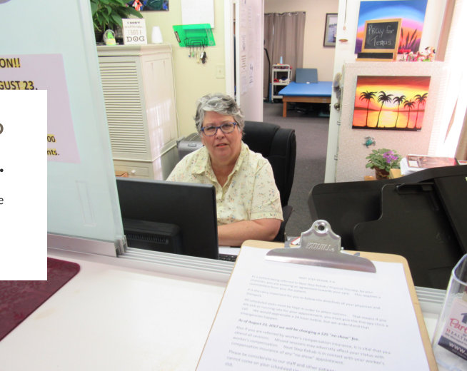 old man in the front desk
